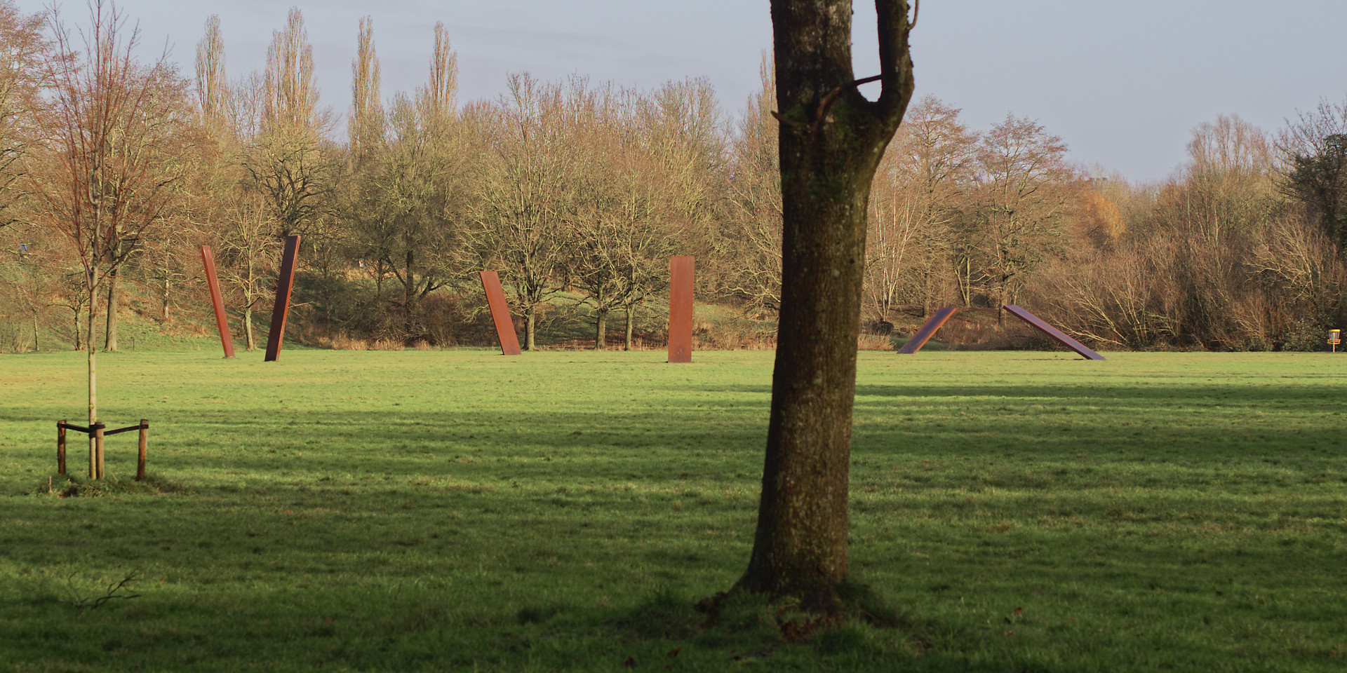 speelweide met boom en kunstwerken