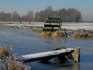 Polder canal and fence